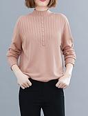 billige Gensere til damer-Dame Ensfarget Langermet Tynn Pullover Genserjumper, Rullekrage Svart / Rosa / Blå En Størrelse