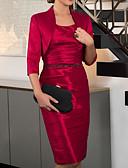 olcso Örömanya ruhák-Szűk szabású / Kétrészes Ékszer Térdig érő Szatén Örömanya ruha val vel Rátétek által LAN TING Express
