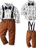 povoljno Kompletići za dječake-Djeca Dječaci Osnovni Geometrijski oblici Dugih rukava Komplet odjeće Braon