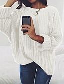 olcso Női pulóverek-Női Egyszínű Hosszú ujj Pulóver Pulóver jumper Fekete / Bor / Világos szürke S / M / L