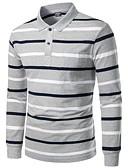 ราคาถูก เสื้อโปโลสำหรับผู้ชาย-สำหรับผู้ชาย Polo ลายแถบ เทาอ่อน