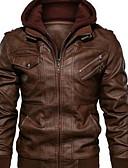 ราคาถูก แจ็กเก็ต &เสื้อโค้ทผู้ชาย-สำหรับผู้ชาย ทุกวัน ฤดูหนาว ปกติ แจ๊คเก็ต, สีพื้น ฮู้ด แขนยาว เส้นใยสังเคราะห์ สีดำ / ทับทิม / สีน้ำตาล