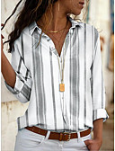 cheap Women's Shirts-Women's Daily Shirt - Striped Yellow