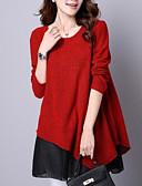 baratos Suéteres de Mulher-Mulheres Estampa Colorida Manga Longa Tamanhos Grandes Pulôver Camisola Jumper, Decote Redondo Vermelho / Cinzento S / M / L