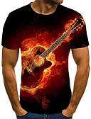 billige T-skjorter og singleter til herrer-T-skjorte Herre - 3D / Grafisk / Bokstaver, Flettet / Trykt mønster Gatemote / overdrevet Rød