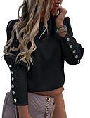 baratos Mini Vestidos-Mulheres Blusa Básico Sólido Preto