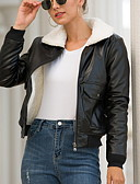 billige Kvinner Leather & Faux Leather Jackets-Dame Daglig Høst vinter Normal Lærjakker, Ensfarget V-hals Langermet Polyester Svart