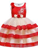 olcso Lány ruhák-Gyerekek Kisgyermek Lány Aktív aranyos stílus Virágos Színes Karácsony Strassz Csokor Többrétegű Ujjatlan Térdig érő Ruha Arcpír rózsaszín