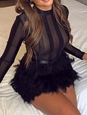 olcso Női ruhák-Női Vékony Little Black Ruha Egyszínű Mini Terített nyak