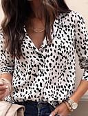 olcso Női pulóverek-Női Ing - Leopárd Fehér