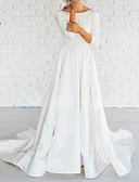 Χαμηλού Κόστους Νυφικά-Γραμμή Α Bateau Neck Ουρά Σατέν 3/4 Μήκος Μανικιού Φορέματα γάμου φτιαγμένα στο μέτρο με 2020