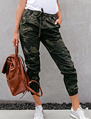 ราคาถูก กางเกงผู้หญิง-สำหรับผู้หญิง Sporty Jogger กางเกง - Camouflage Color Black, กีฬา ใบไม้สีเขียวที่มีสามแฉก S M L