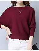 olcso Női pulóverek-Női Egyszínű Hosszú ujj Bő Pulóver Pulóver jumper Ősz / Tél Fekete / Bor / Világoskék Egy méret