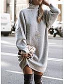 olcso Maxi ruhák-Női Egyszínű Hosszú ujj Pulóver Pulóver jumper, Kerek Világos szürke / Medence / Barna S / M / L