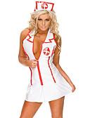 ราคาถูก ชุดเซ็กซี่-สำหรับผู้หญิง ระบาย / Ruched เครื่องแบบและกี่เพ้า เสื้อนอน สีพื้น ขาว S M L
