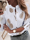 baratos Camisas Femininas-Mulheres Camisa Social Fruta Branco