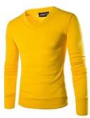 olcso Férfi pólók és kardigánok-Férfi Egyszínű Hosszú ujj Pulóver Pulóver jumper, V-alakú Fekete / Bor / Világos szürke US32 / UK32 / EU40 / US34 / UK34 / EU42