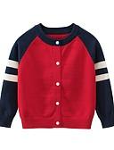 저렴한 남아 스웨터&가디건-아동 남아 베이직 컬러 블럭 크리스마스 긴 소매 스웨터 & 가디건 루비