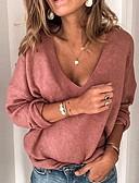 olcso Női pulóverek-Női Egyszínű Hosszú ujj Pulóver Pulóver jumper, V-alakú Fekete / Medence / Rubin S / M / L