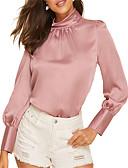baratos Calças & Saias de Couro-Mulheres Blusa Sólido Rosa