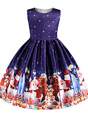 cheap Girls' Dresses-Kids Girls' Basic Christmas Print Sleeveless Knee-length Dress Navy Blue