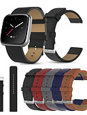 billige Smartwatch Bands-ekte lær spenne armbåndsur band stropp belte for fitbit versa lite / versa se / versa 2 smart klokke