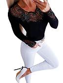 baratos Mini Vestidos-Mulheres Blusa Básico / Moda de Rua Patchwork, Sólido Preto