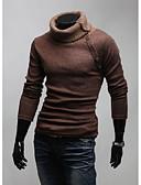 olcso Férfi pólók és kardigánok-Férfi Egyszínű Hosszú ujj Pulóver Pulóver jumper, Körgallér Fekete / Barna / Szürke US32 / UK32 / EU40 / US34 / UK34 / EU42 / US36 / UK36 / EU44
