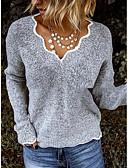 Χαμηλού Κόστους T-shirt-Γυναικεία Μονόχρωμο Μακρυμάνικο Πουλόβερ Πουλόβερ Jumper, Λαιμόκοψη V Μαύρο / Βυσσινί / Ανθισμένο Ροζ Τ / M / L