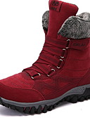 cheap Women's Fur & Faux Fur Coats-Women's Boots Flat Heel Round Toe PU Mid-Calf Boots Fall & Winter Black / Wine / Purple