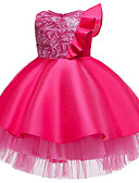 olcso Lány ruhák-Gyerekek Kisgyermek Lány Aktív aranyos stílus Egyszínű Színes Karácsony Csokor Többrétegű Pliszé Rövid ujjú Térdig érő Ruha Világoskék