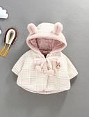 billige Ytterklær til baby-Baby Jente Gatemote Ruter Dun- og bomullsfôret Rosa