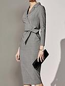 Χαμηλού Κόστους Επαγγελματικά Φορέματα-Γυναικεία Βασικό Γραμμή Α Φόρεμα - Μονόχρωμο Ως το Γόνατο