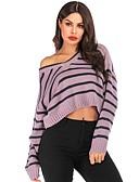 olcso Női pulóverek-Női Csíkos / Színes Hosszú ujj Pulóver Pulóver jumper, V-alakú Fehér / Bíbor S / M / L