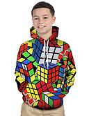 baratos Moletons Para Meninos-Infantil Bébé Para Meninos Activo Básico Cubos Mágicos Geométrica Estampa Colorida 3D Estampado Manga Longa Moleton & Blusa de Frio Arco-íris / Arco-Íris