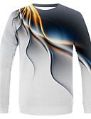 Χαμηλού Κόστους Ανδρικά μπλουζάκια και φανελάκια-Ανδρικά Μέγεθος EU / US T-shirt Κομψό στυλ street / Εξωγκωμένος Συνδυασμός Χρωμάτων / Μονόχρωμο Στρογγυλή Λαιμόκοψη Λευκό / Μακρυμάνικο