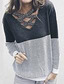 olcso Női pulóverek-Női Színes Hosszú ujj Pulóver Pulóver jumper, V-alakú Medence / Rubin / Szürke S / M / L