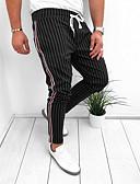 baratos Calças e Shorts Masculinos-Homens Moda de Rua Chinos Calças - Listrado Preto Azul Marinha Cinzento US32 / UK32 / EU40 US36 / UK36 / EU44