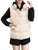 olcso Női hosszú kabátok és parkák-Női Egyszínű Prsluk, Poliészter / POLY Fekete / Fehér M / L / XL