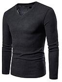 olcso Férfi pólók és kardigánok-Férfi Egyszínű Hosszú ujj Pulóver Pulóver jumper, V-alakú Ősz Fekete / Világos szürke / Fehér US34 / UK34 / EU42 / US36 / UK36 / EU44 / US40 / UK40 / EU48