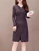 baratos Vestidos de Mulher-Mulheres Moda de Rua Elegante Evasê Vestido - Pregueado, Sólido Decote V Altura dos Joelhos