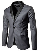 billige Herreskjorter-Herre Blazer, Ensfarget Rundet jakkeslag Rayon / Polyester / Spandex Svart / Grå