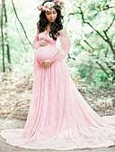 ราคาถูก ชุดเดรสคนท้อง-สำหรับผู้หญิง พื้นฐาน ปลอก หางเมอร์เมด แต่งตัว - ลูกไม้, สีพื้น ขนาดใหญ่ White