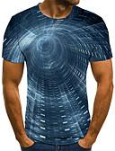 baratos Camisetas & Regatas Masculinas-Homens Camiseta Moda de Rua / Punk & Góticas Estampado, Estampa Colorida / 3D / Gráfico Azul Marinha