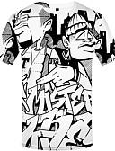 ราคาถูก เสื้อยืดและเสื้อกล้ามผู้ชาย-สำหรับผู้ชาย เสื้อเชิร์ต Street Chic ลายพิมพ์ 3D / การ์ตูน สีดำ