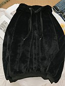 billige Gensere og hettegensere til damer-N / A Daglig Vinter Normal Faux Fur Coat, Ensfarget Med hette Langermet Bomull Svart / Grå