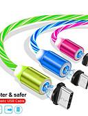 olcso Kábelek & Töltő-1m mágneses töltés a mobiltelefon-kábel USB világító világító adatkábelt iPhone samaung Huawei vezetett