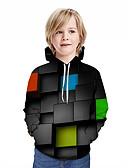 billige T-skjorter og singleter til herrer-Barn Gutt Aktiv Gatemote Geometrisk 3D Lapper Trykt mønster Langermet Hettegenser og sweatshirt Regnbue