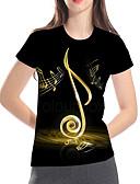 baratos Camisetas Femininas-Mulheres Camiseta Básico / Rock Estampado, Geométrica / 3D / Gráfico Preto