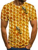 Χαμηλού Κόστους Ανδρικά μπλουζάκια και φανελάκια-Ανδρικά T-shirt Κομψό στυλ street / Εξωγκωμένος Συνδυασμός Χρωμάτων / 3D / Ζώο Στάμπα Ουράνιο Τόξο